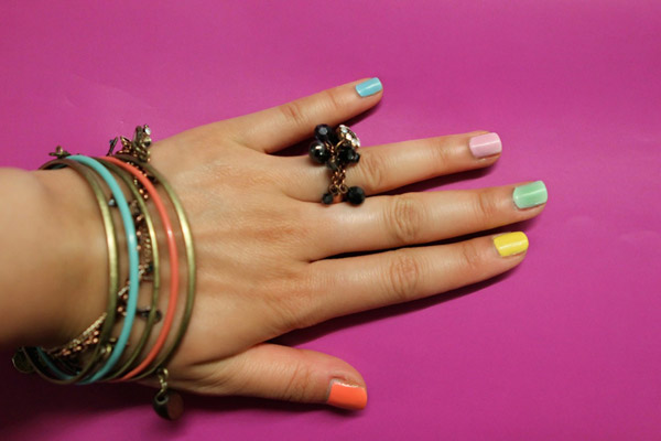 DIY nail manicure multicolored