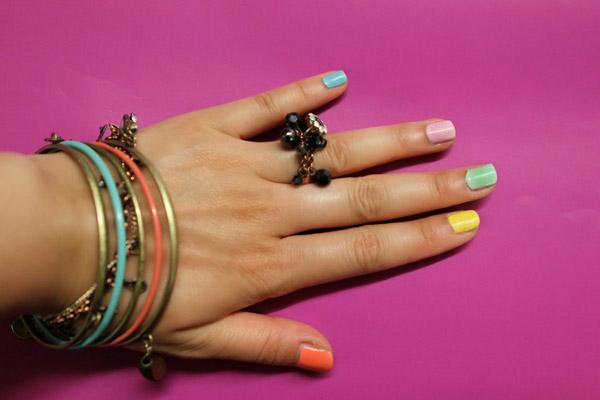 DIY nail manicure multicolored