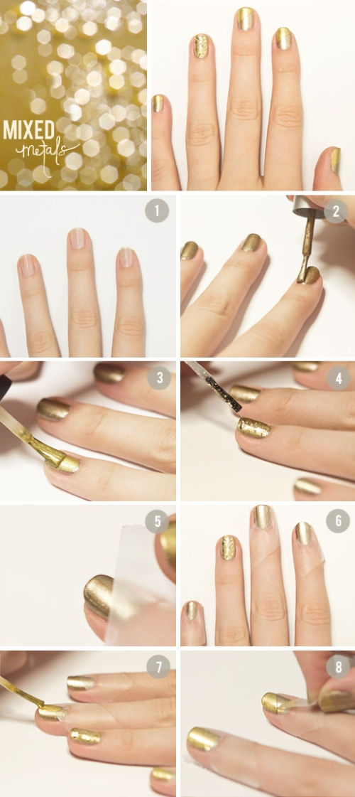 DIY nail manicure gold mixed metals