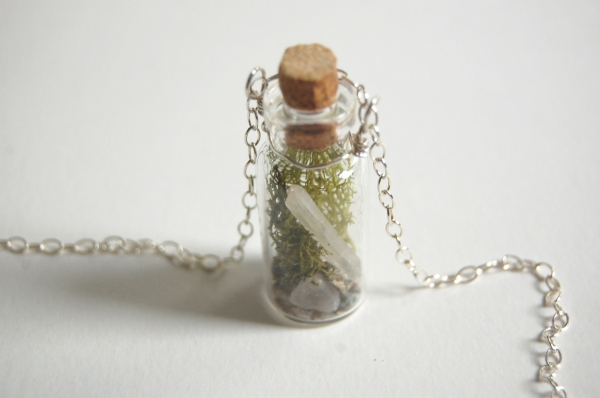crystal terrarium moss glass bottle necklace