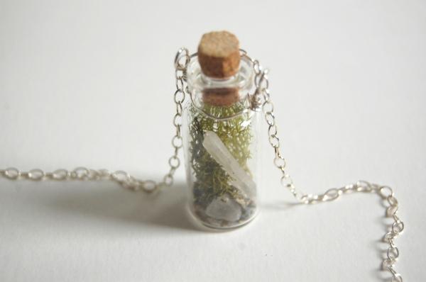 crystal terrarium moss glass bottle necklace