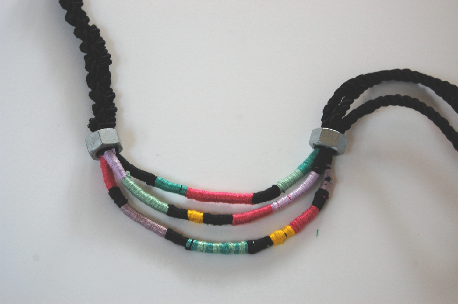 Tutorial rope and wrapped thread necklace diy in pdx